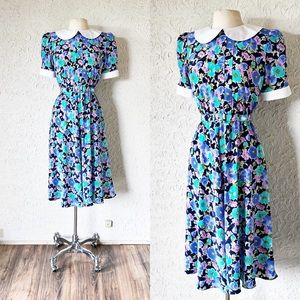 Blue Floral Peter Pan Collar Dress | Vintage